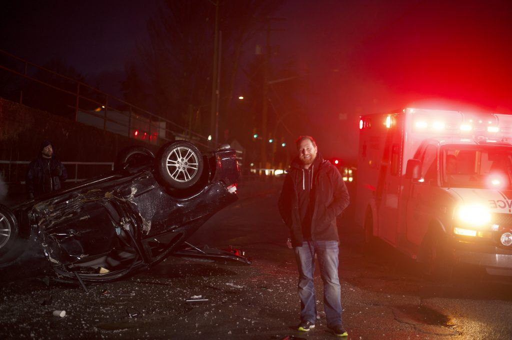 flipping car upside down for paramedics ad