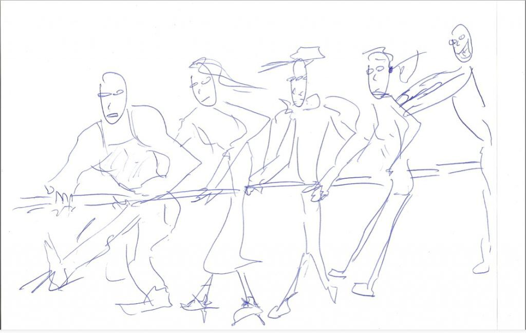 Sketch for the MS Tug of War Ad