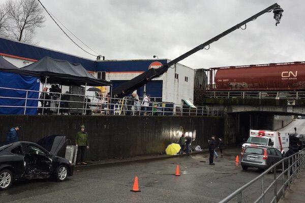 Seventy foot crane for APBC shoot for BC Paramedics