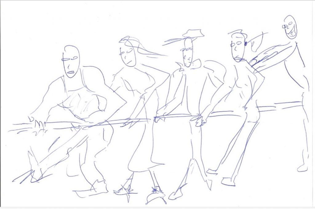 MS sketch for tug of war ad
